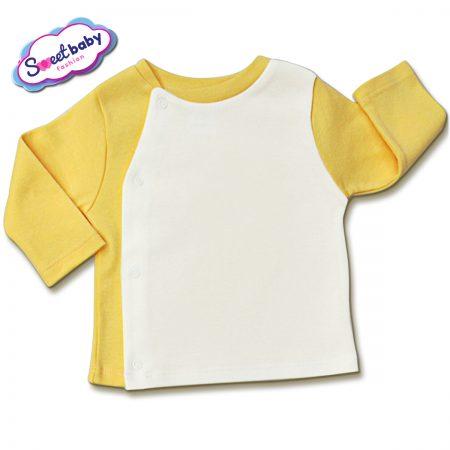 Бебешка жилетка в жълто и бяло