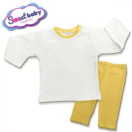 Детска пижама в жълто и бяло