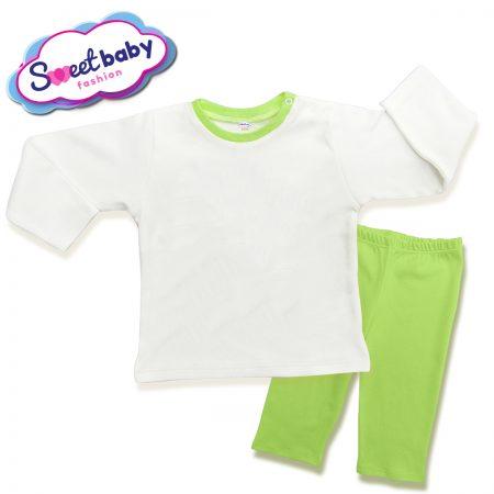 Детска пижама в зелено и бяло