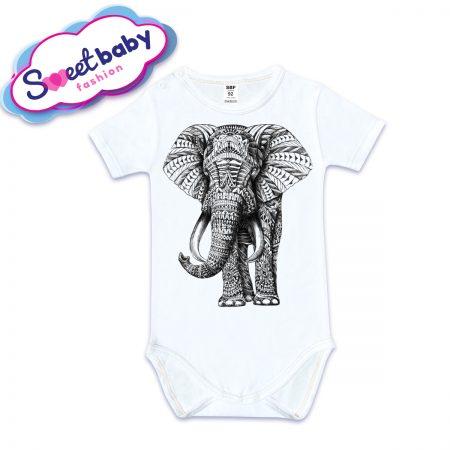Бебешко боди с къс ръкав Слон