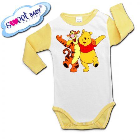 Бебешко боди с дълъг ръкав Мечо Пух и Тигър