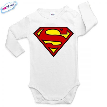 Бебешко боди с дълъг ръкав в бяло Супермен