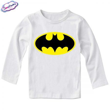Детска блуза с дълъг ръкав в бяло Батман