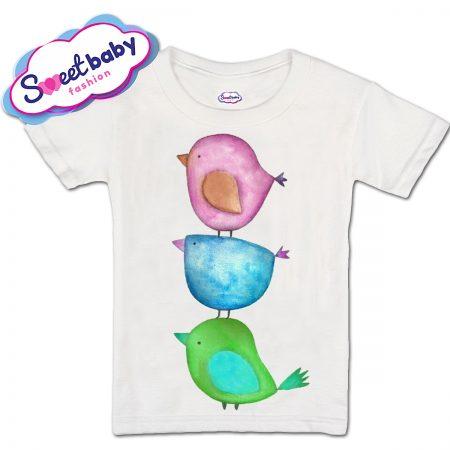 Детска тениска Цветни птичета