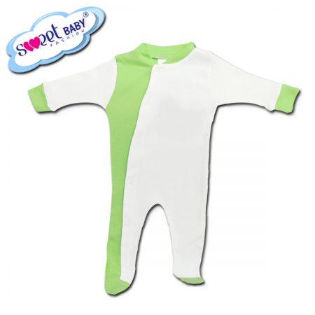 Бебешко гащеризонче в бяло и зелено