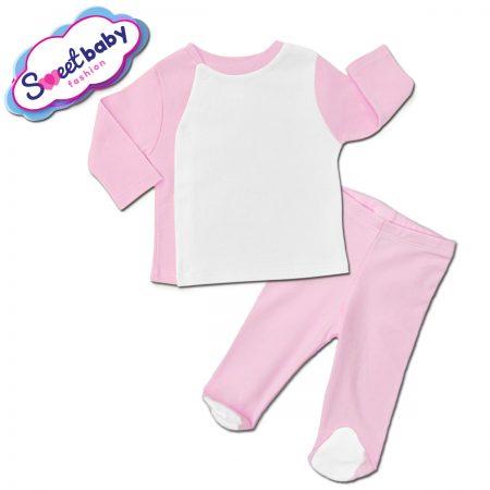 Бебешки сет ританки с жилетка в розово и бяло