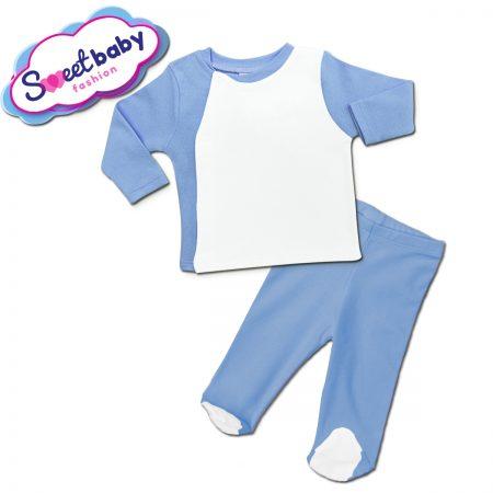 Бебешки сет ританки с жилетка в синьо и бяло