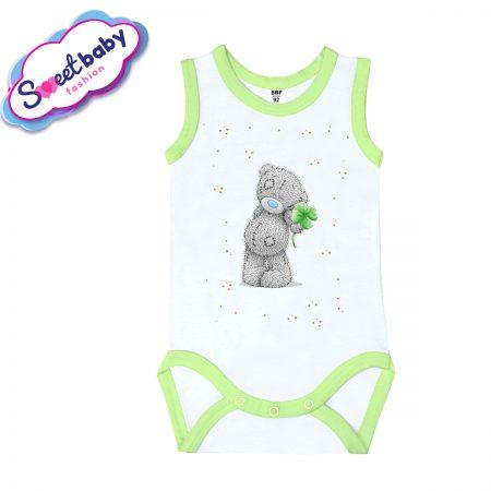 Бебешко боди потник със зелен кант Детелинка