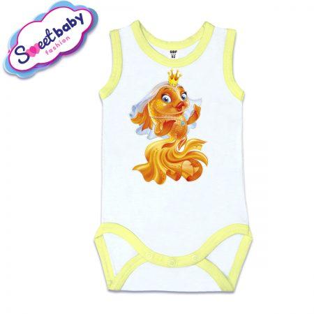 Бебешко боди потник с жълт кант Златна рибка