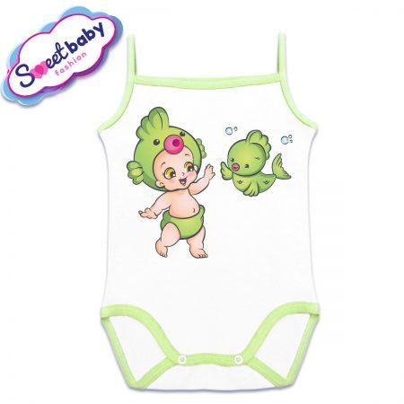 Бебешко боди със зелена, тънка презрамка Бебе рибка