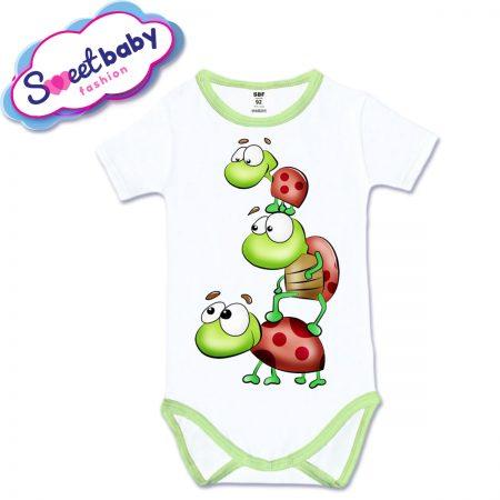 Бебешко боди с къс ръкав Трите костенурчета