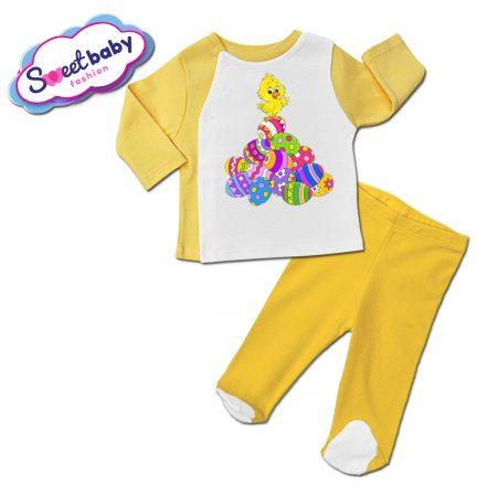 Бебешки ританки с жилетка в жълто Шарени яйчица