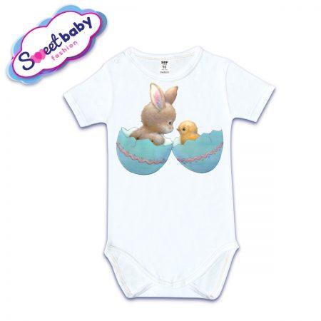 Бебешко боди с къс ръкав в бяло Зайче и Пиле