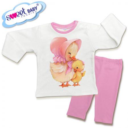 Детска пижамка в розово Мама патка