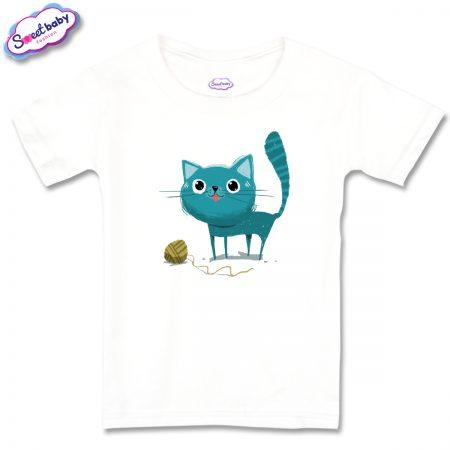 Детска тениска Синьо коте