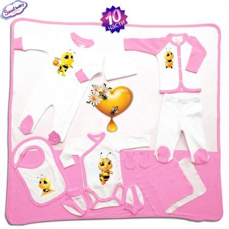 Комплект за изписване Пчелички 10 части в розово