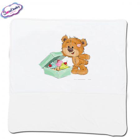 Бебешка пелена в бяло Подаръци за мечо