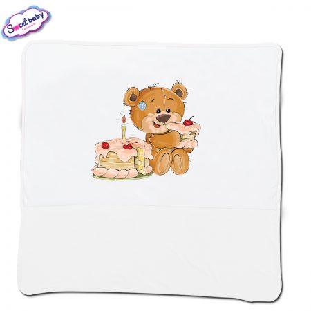 Бебешка пелена в бяло Торта за мечо