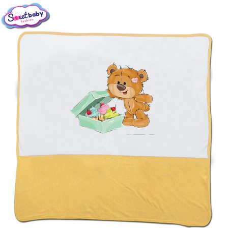 Бебешка пелена в жълто и бяло Подаръци за мечо