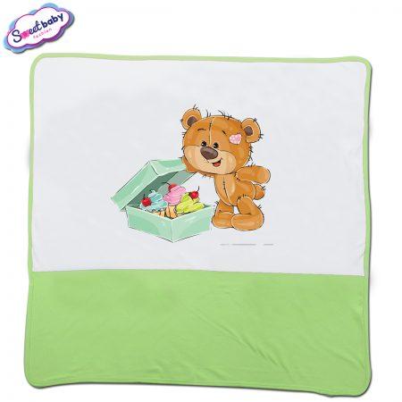 Бебешка пелена в зелено и бяло Подаръци за мечо