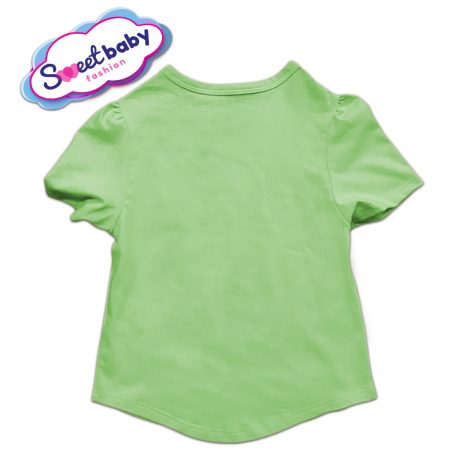 Детска туника в зелено и бяло гръб