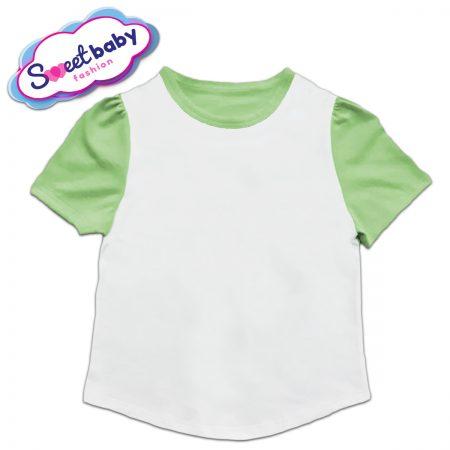 Детска туника в зелено и бяло