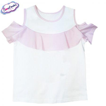 Детска блузка с рязан ръкав розово и бяло