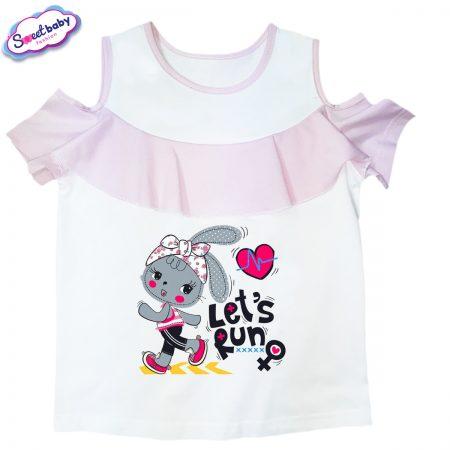 Детска блузка с рязан ръкав Let-is-run