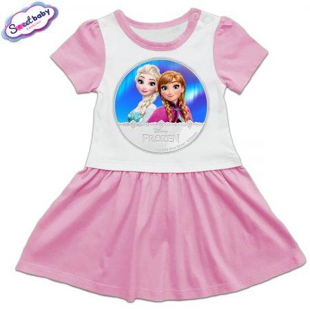 Детска рокличка в розово Елза и Анна