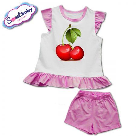 Детски сет в розово Черешки