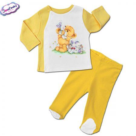 Бебешки сет ританки с жилетка в жълто Мечо и мишлета