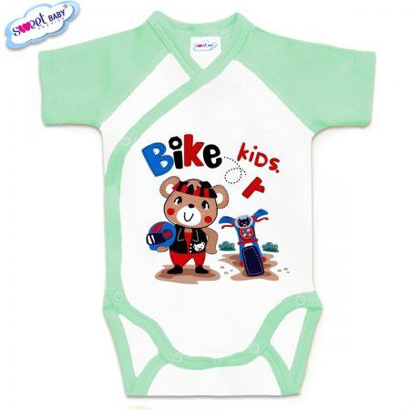 Бебешко боди прегърни ме в мента и бяло Bike