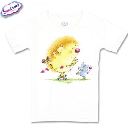 Детска тениска Таралежи на кънки