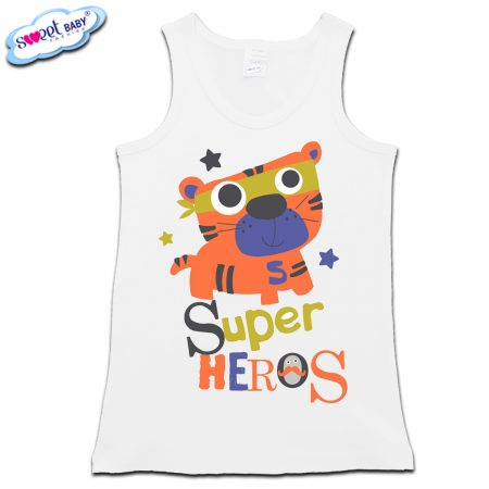 Детски потник в бяло Super heros