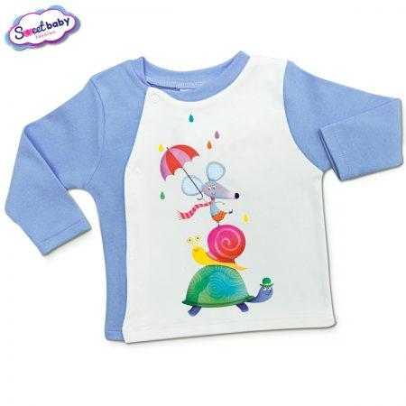 Бебешка жилетка в синьо и бяло Цветен дъжд