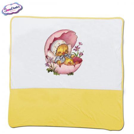 Бебешка пелена в бяло и жълто Малко птиче