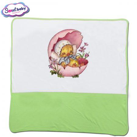 Бебешка пелена в бяло и зелено Малко птиче