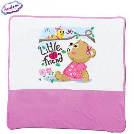 Бебешка пелена в бяло и розово Hi