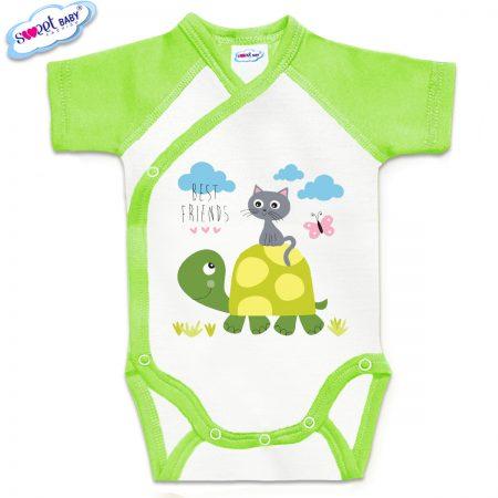 Бебешко боди Best friends зелено бяло