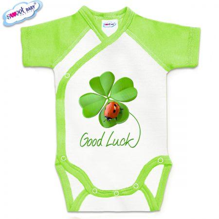 Бебешко боди Good luck зелено бяло