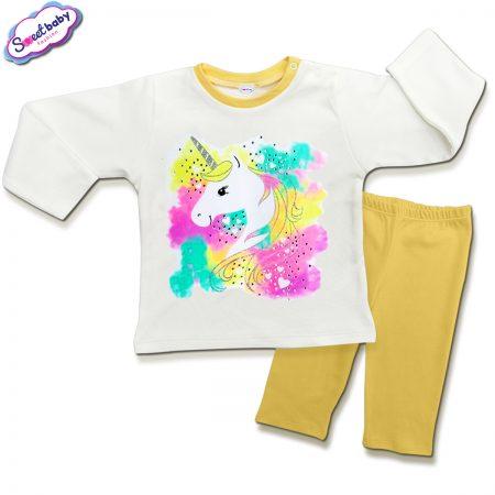 Детска пижамка в жълто и бяло Нежен еднорог