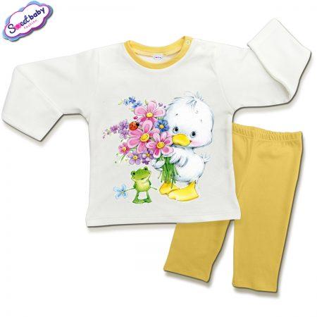 Детска пижамка в жълто и бяло Пате и жабка