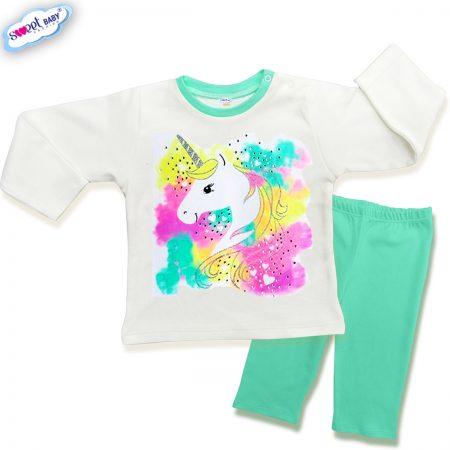 Детска пижамка в мента и бяло Нежен еднорог