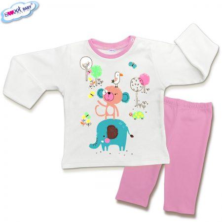 Детска пижамка в розово и бяло Маймунка и приятели