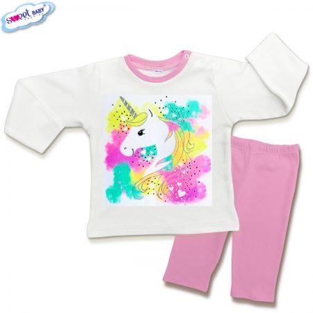 Детска пижамка в розово и бяло Нежен еднорог
