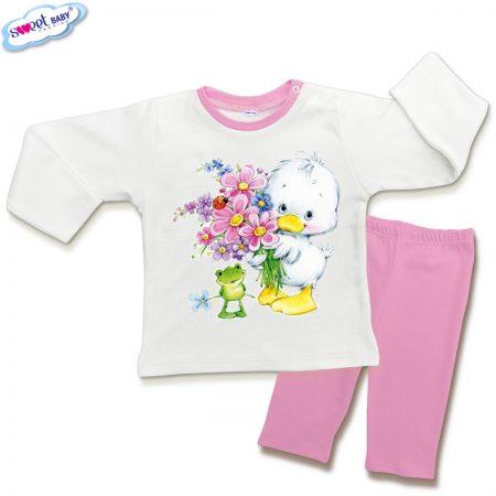 Детска пижамка в розово и бяло Пате и жабка