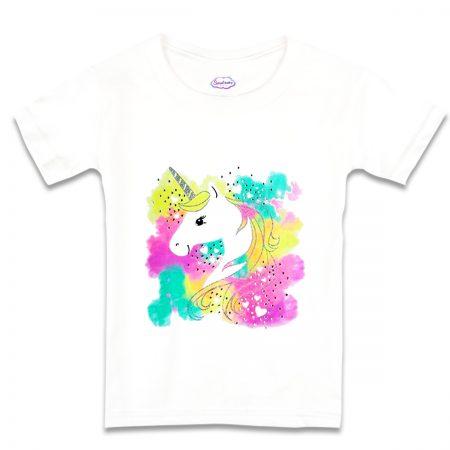 Детска тениска в бяло Нежен еднорог