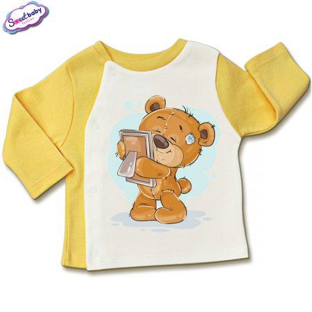 Бебешка жилетка в жълто и бяло Мила снимка