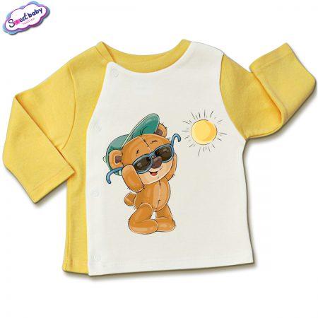 Бебешка жилетка в жълто и бяло Слънчев ден