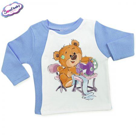 Бебешка жилетка в синьо и бяло Мечо шивач